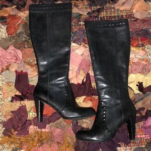 Black Soft Leather Knee Boots